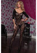 Crotchet 3/4 Sleeve Bodystocking-blk Os